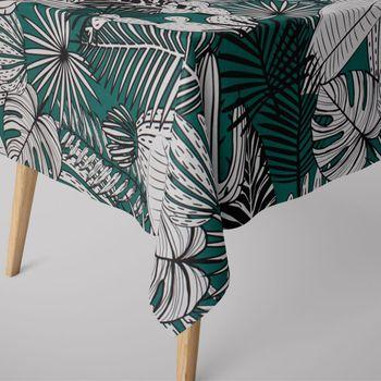 SCHÖNER LEBEN. Tischdecke Kaktus Palmen Blätter grün weiß schwarz – Bild 1