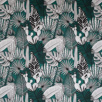 SCHÖNER LEBEN. Kissenhülle Kaktus Palmen Blätter grün weiß schwarz – Bild 7