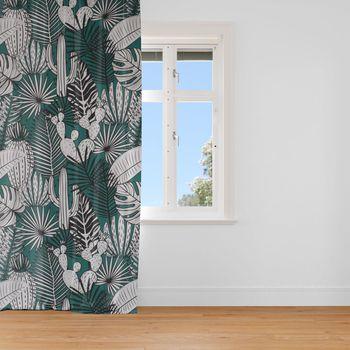 SCHÖNER LEBEN. Vorhang Kaktus Palmen Blätter grün weiß schwarz 245cm oder Wunschlänge – Bild 1