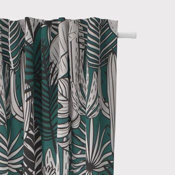 SCHÖNER LEBEN. Vorhang Kaktus Palmen Blätter grün weiß schwarz 245cm oder Wunschlänge – Bild 2