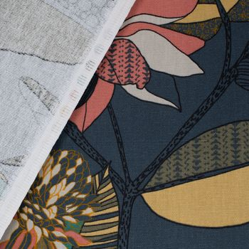 SCHÖNER LEBEN. Vorhang ECHINOPS große Blumen Blüten Blätter grau bunt 245cm oder Wunschlänge – Bild 11
