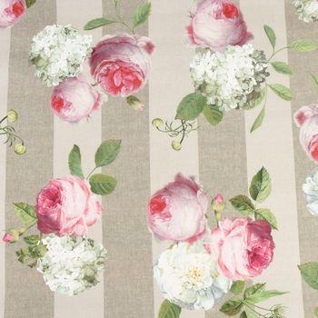 SCHÖNER LEBEN. Kissenhülle Dralon Teflonbeschichtung Streifen Hortensien hellgrau khaki grün pink weiß – Bild 5