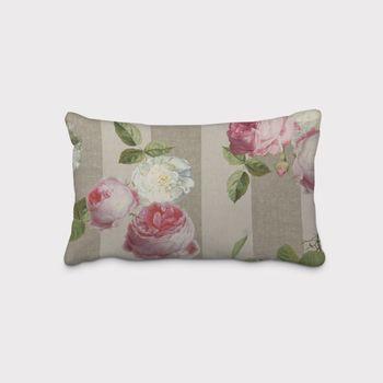 SCHÖNER LEBEN. Kissenhülle Dralon Teflonbeschichtung Streifen Hortensien hellgrau khaki grün pink weiß – Bild 2