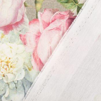 SCHÖNER LEBEN. Tischläufer Outdoor Streifen Hortensien Blätter hellgrau khaki grün pink weiß 40x160cm – Bild 6
