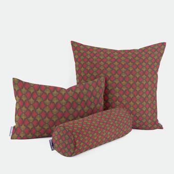 SCHÖNER LEBEN. Kissenhülle Ginkgo Blätter rot ocker schwarz – Bild 1