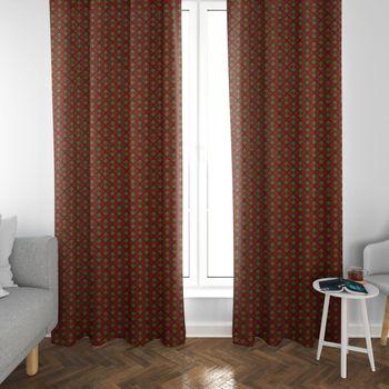 SCHÖNER LEBEN. Vorhang Ginkgo Blätter rot ocker schwarz 245cm oder Wunschlänge – Bild 3
