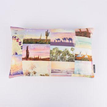 SCHÖNER LEBEN. Kissenhülle Coachella Patchwork Digitaldruck rosa gelb blau 30x50cm – Bild 1