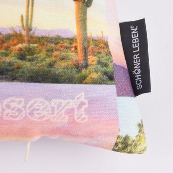SCHÖNER LEBEN. Kissenhülle Coachella Patchwork Digitaldruck rosa gelb blau 40x40cm – Bild 4