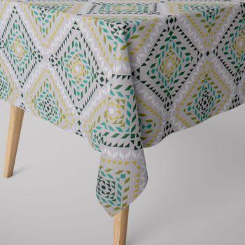 SCHÖNER LEBEN. Tischdecke geometrisch Dreiecke Vierecke natur weiß grün – Bild 1