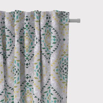 SCHÖNER LEBEN. Vorhang geometrisch Dreiecke Vierecke natur weiß grün 245cm oder Wunschlänge – Bild 2