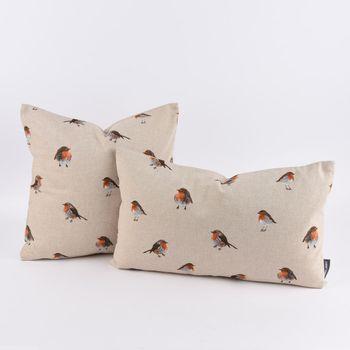 SCHÖNER LEBEN. Kissenhülle Rotkehlchen natur braun orange 40x40cm – Bild 6