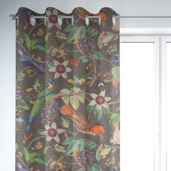SCHÖNER LEBEN. Vorhang Velvet Deluxe Samt Tropical Vögel Pflanzen braun bunt 245cm oder Wunschlänge – Bild 6