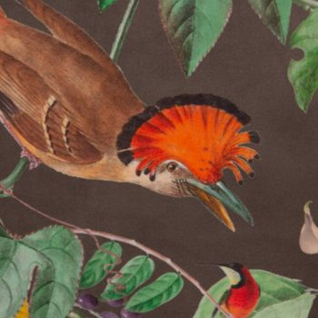 SCHÖNER LEBEN. Kissenhülle Velvet Deluxe Samt Tropical Vögel Pflanzen braun bunt – Bild 8