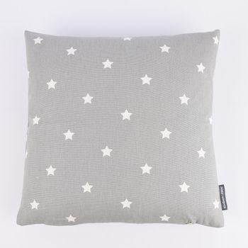 SCHÖNER LEBEN. Kissenhülle Twinkle Sterne grau weiß 40x40cm – Bild 1