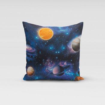 SCHÖNER LEBEN. Kissenhülle Weltall Weltraum Planeten Erde blau bunt – Bild 4