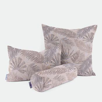SCHÖNER LEBEN. Kissenhülle Palmenblätter natur braun grau – Bild 1