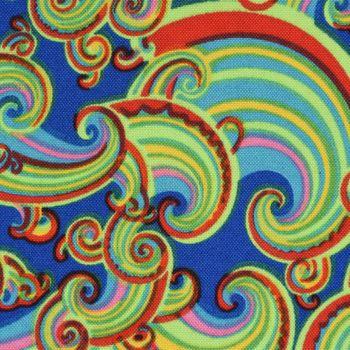 Polyester Retro Wellen blau grün rot 1,5m Breite – Bild 2