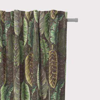 SCHÖNER LEBEN. Vorhang Velvet Deluxe Samt Tropical Blätter grün braun creme 245cm oder Wunschlänge – Bild 2