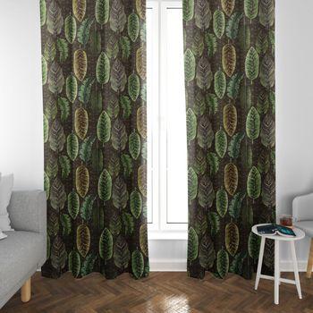 SCHÖNER LEBEN. Vorhang Velvet Deluxe Samt Tropical Blätter grün braun creme 245cm oder Wunschlänge – Bild 3