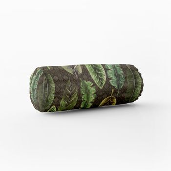 SCHÖNER LEBEN. Kissenhülle Velvet Deluxe Samt Tropical Blätter grün braun creme – Bild 5
