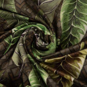 SCHÖNER LEBEN. Kissenhülle Velvet Deluxe Samt Tropical Blätter grün braun creme – Bild 11