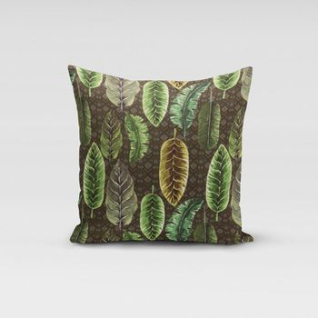 SCHÖNER LEBEN. Kissenhülle Velvet Deluxe Samt Tropical Blätter grün braun creme – Bild 15
