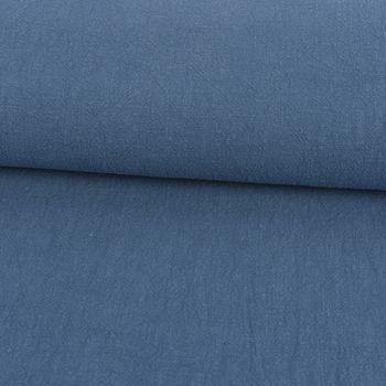Dekostoff Gardinenstoff Bio Ramie Leinenoptik einfarbig blau vorgewaschen 1,4m Breite – Bild 1