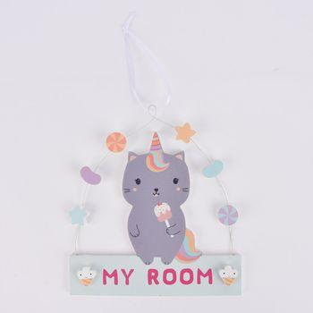 Sass & Belle Schild My Room Katze Regenbogen grau bunt 16,5x18cm – Bild 1