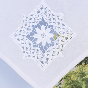 Scheibengardine mit Schlaufen und Häkeldetail Sternornament weiß 40x60cm – Bild 2