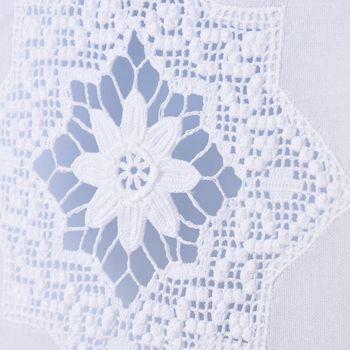 Scheibengardine mit Schlaufen und Häkeldetail Sternornament weiß 40x60cm – Bild 3