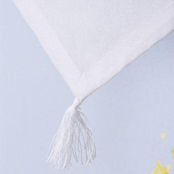 Scheibengardine mit Schlaufen und Häkeldetail Sternornament weiß 40x60cm – Bild 4