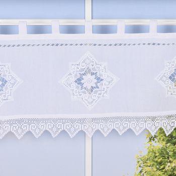 Panneaux mit Schlaufen und Häkeldetail Sternornament weiß 125x45cm – Bild 1