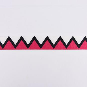 Gurtband Deko Zickzack pink schwarz weiß Polyester Breite: 4cm – Bild 1