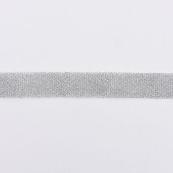 Schrägband Einfassband Lurex Glitzer silber  Breite: 2cm – Bild 1