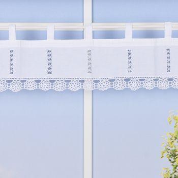 Panneaux mit Schlaufen und Häkelblume weiß 120x20cm – Bild 1
