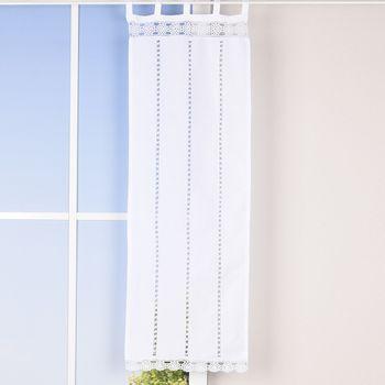 Seitenschal mit Schlaufen und Häkelblume weiß 40x120cm – Bild 1