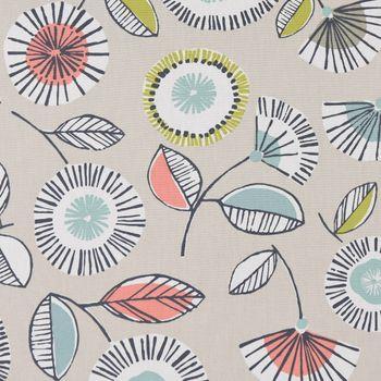 Dekostoff Baumwollstoff Blumen Blätter abstrakt beige weiß grau bunt 1,37m Breite – Bild 2
