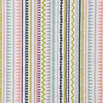 Dekostoff Baumwollstoff Streifen Ethno Inka weiß grau grün rosa 1,37m Breite – Bild 2
