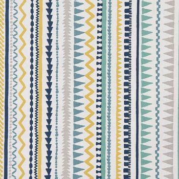 Dekostoff Baumwollstoff Streifen Ethno Inka weiß grau blau gelb 1,37m Breite – Bild 2