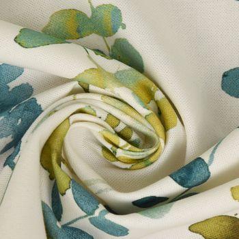 Dekostoff Baumwollstoff Ranken Blätter Aquarell weiß grün blau 1,37m Breite – Bild 5