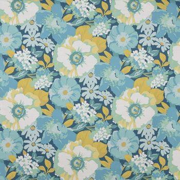 Dekostoff Baumwollstoff Blumen Blätter blau weiß grün 1,4m Breite – Bild 1