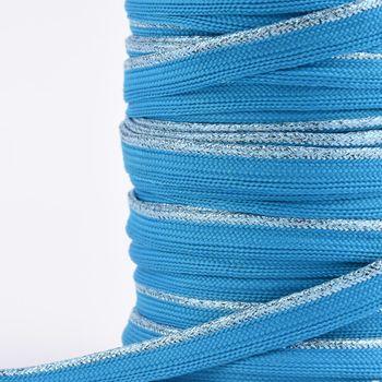 Paspelband Polyester aqua blau Glitzer Lurex Breite: 1cm – Bild 3