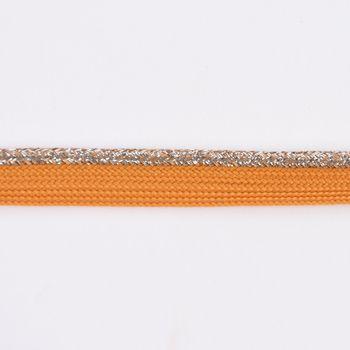 Paspelband Polyester ocker gelb Glitzer Lurex silber Breite: 1cm – Bild 2