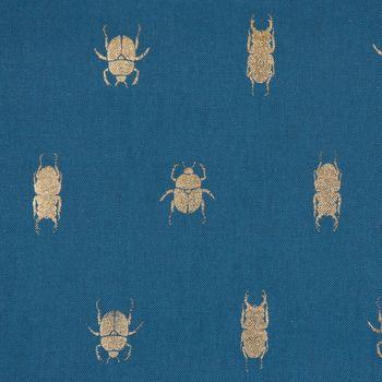 SCHÖNER LEBEN. Kissenhülle Käfer blau gold metallic  – Bild 6