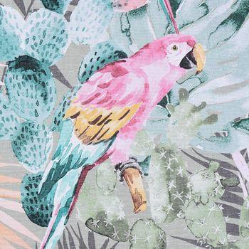 SCHÖNER LEBEN. Kissenhülle Kakteen mit Papagei Farn grün bunt – Bild 5
