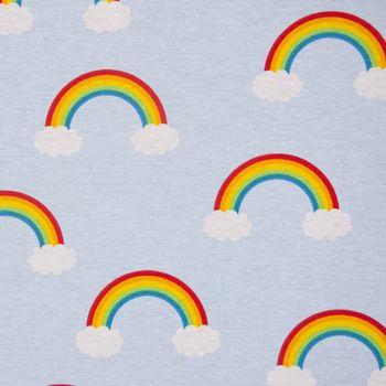 SCHÖNER LEBEN. Kissenhülle Wolken Regenbogen hellblau bunt – Bild 6