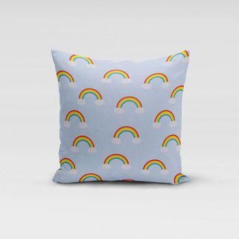 SCHÖNER LEBEN. Kissenhülle Wolken Regenbogen hellblau bunt – Bild 3
