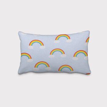 SCHÖNER LEBEN. Kissenhülle Wolken Regenbogen hellblau bunt – Bild 2