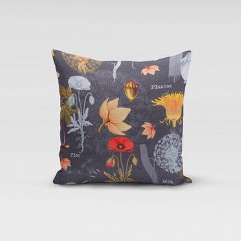 SCHÖNER LEBEN. Kissenhülle Blumen Löwenzahn Mohn dunkelgrau rot orange gelb – Bild 3