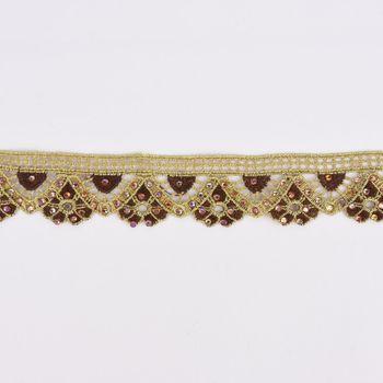 Goldband Glitzerband Strasssteinchen gold braun Breite: 3,7cm – Bild 1